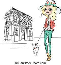 Vector beautiful fashion girl in Paris - Fashionable hipster...