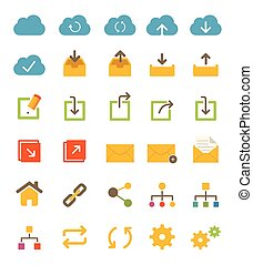 Share and Network Icons - A set of flat share and network...