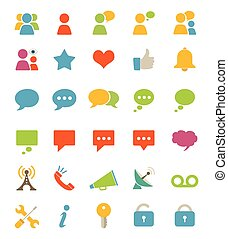 Media And Communication Icons - A set of flat media and...