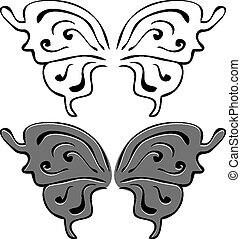 Butterfly wings. Set of illustrations. Black and painted wings