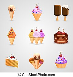 Ice cream set art object Vector illustration