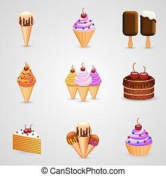 Ice cream set art object. Vector illustration