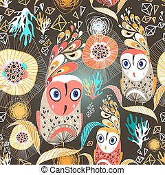 floral pattern with owls - beautiful graphic pattern with...
