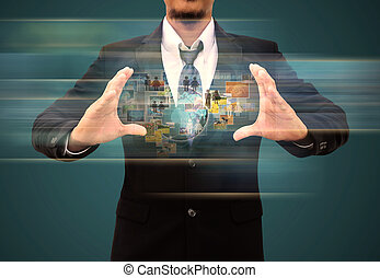 businessman holding Reaching images streaming in hands