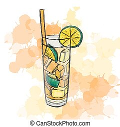 cocktail Long Island Ice Tea - Vector illustration of...