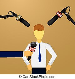 concept live news, reports, interviews - Vector illustration...