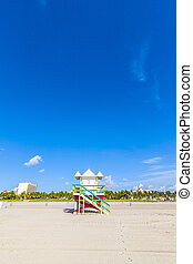 Lifeguard cabin on empty beach, Miami Beach, Florida, USA, safet