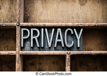 Privacy Vintage Letterpress Type in Drawer - The word...