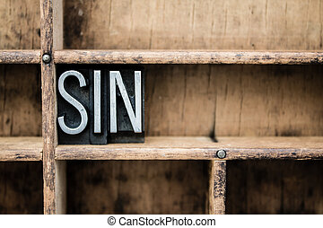 "Sin Vintage Letterpress Type in Drawer - The word ""SIN""..."