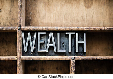 Wealth Vintage Letterpress Type in Drawer - The word WEALTH...