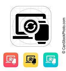 Smart watch synchronization with PC icon Vector illustration...