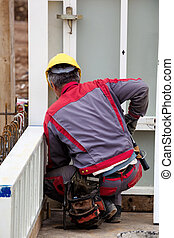 construction worker on a job site - construction workers at...