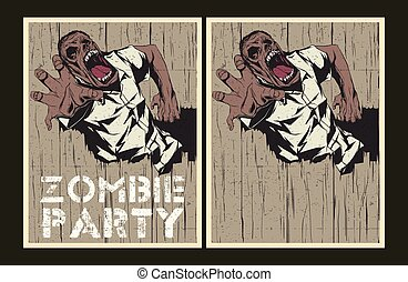 Zombie party invitation template - Vector party Poster...