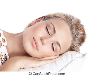 Serene girl sleeping - Closeup portrait of cute blond serene...