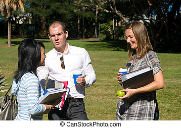 Conversing students - Three students conversing on campus,...