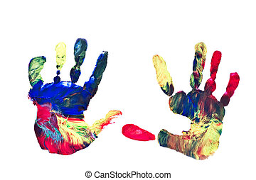 Painted Handprints - Actual Pair of Preschoolers Painted...