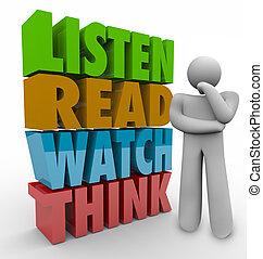 cultura, leggere, orologio, sistema, processo, parole,...