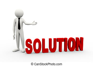 3d businessman with word solution