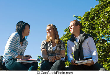 Students - Three students talking casually in a university...