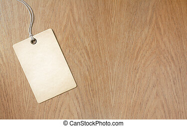 price label or tag on wooden table background - price label...