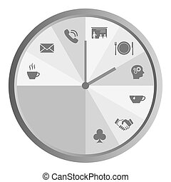 Clock with work time icons grey - Isolated clock with work...
