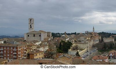 Perugia - Panoramic time-lapse of Italian town Perugia