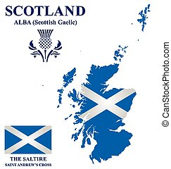 Scotland Flag - Flag and national emblem of Scotland...