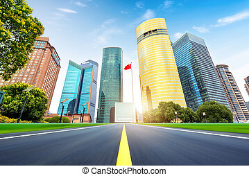 Skyscrapers in Shanghai, China - Highway leading to the...