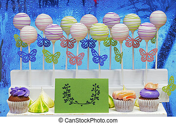 cake-pops on a vivid background - Delicious sweet cake-pops...