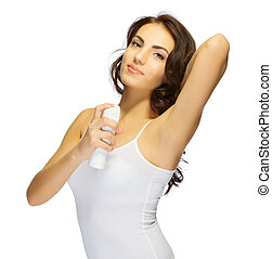 Young girl with deodorant isolated