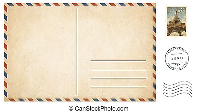 old blank postcard isolated on white with post stamps set -...
