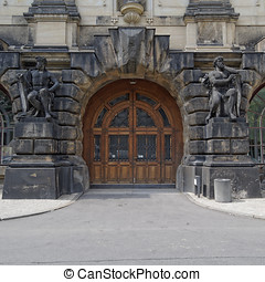 door and statues, Dresden, Saxony Germany - vintage door and...