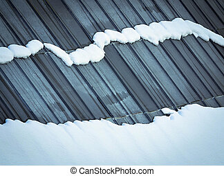 Melting snow on the roof - Abstract background Melting snow...