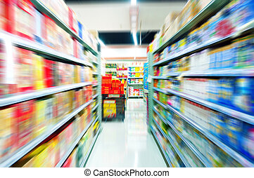 Supermarkets, lens blur effect