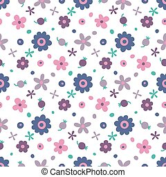 Seamless pattern with small flowers and berries. Vector...