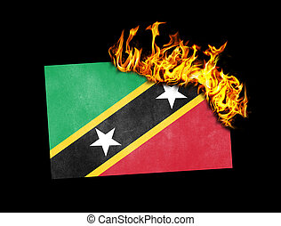 Flag burning - Saint Kitts and Nevis