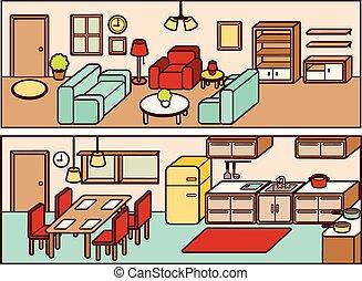 Set of Adjustable Interior Furniture Design - Vector file...