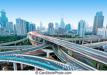 Shanghai Yan'an Road Viaduct - Freeway in night with cars...