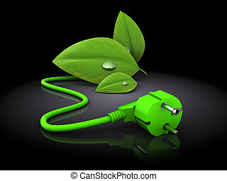 green energy plug in 3d - 3d illustration of green plug with...