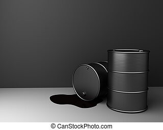 oil background - 3d illustration of oil barrels over gray...