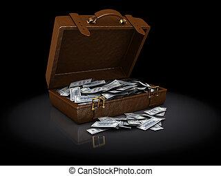 marrón, maleta, Lleno, de, dinero,