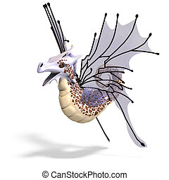 Faerie Fantasy Dragon - 3D rendering of a Faerie Fantasy...