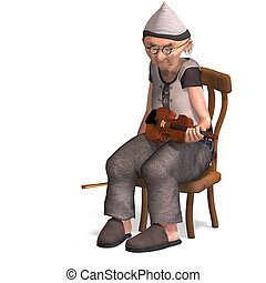 funny senior plays the violin - 3D rendering of a funny...