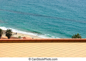 Sea is seen from the balcony