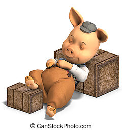 cute cartoon pig with clothes - 3D ren