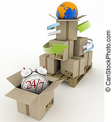 Logistics concept. - Executing online delivery of goods in...
