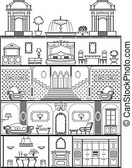 house interior silhouette Vector illustration - house...