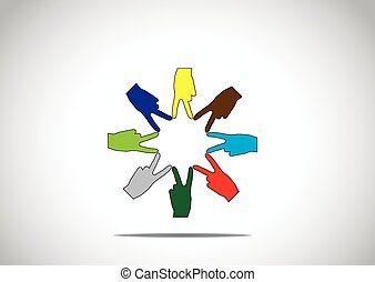 colorful human hands in a circular arrangement with victory winning symbol - teamwork success achievement concept illustration art