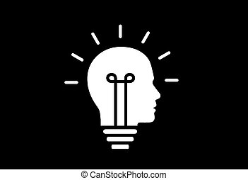 bright glowing idea bulb human head