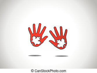two dark red human hand silhouette with maple leaf leaves...
